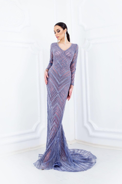 Ръчно изработена рокля с кристална - лавандула - 2200 лв.